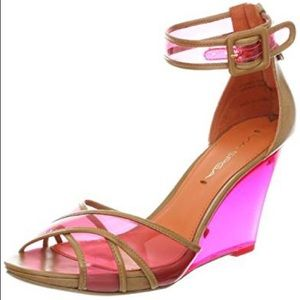 Via Spiga Lucite Crossover Wedges Pink & Tan Sz 8